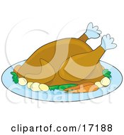 Cooked Turkey Bird Served With Carrots And Potatoes On A Tray On Thanksgiving Or Christmas