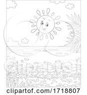 Black And White Cheerful Sun Over A Beach