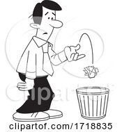 Cartoon Business Man Tossing Crumpled Paper In The Trash Black And White