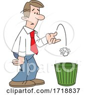 Cartoon Business Man Tossing Crumpled Paper In The Trash