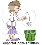 Cartoon Woman Tossing Crumpled Paper In The Trash