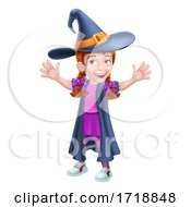 Poster, Art Print Of Kid Cartoon Girl Child In Witch Halloween Costume