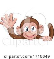 Poster, Art Print Of Monkey Cartoon Animal Behind Sign Waving
