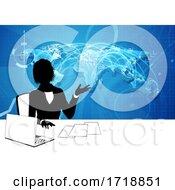 Poster, Art Print Of News Anchor Silhouette Tv Reporter Presenter