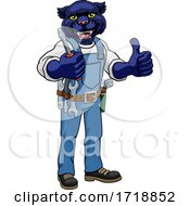 Poster, Art Print Of Panther Electrician Handyman Holding Screwdriver