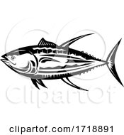 Yellowfin Tuna Thunnus Albacares Or Ahi Side Retro Black And White