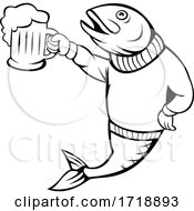Trout Or Salmon Fish Holding Up Beer Mug Of Ale Wearing Sweater Cartoon Black And White