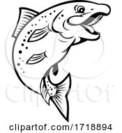 Happy Rainbow Trout Or Salmon Fish Jumping Up Cartoon Black And White