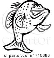 Crappie Fish Standing Up Mascot Black And White