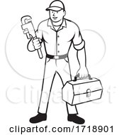 Plumber Holding Monkey Wrench And Toolbox Cartoon Black And White