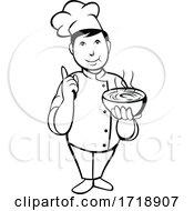Poster, Art Print Of Cartoon Asian Chef Or Cook Serving Bowl Of Hot Soup With Number One Hand Sign Black And White