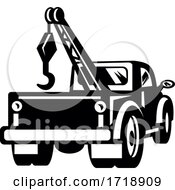 Vintage Tow Truck Or Wrecker Pick Up Truck Rear View Retro Black And White