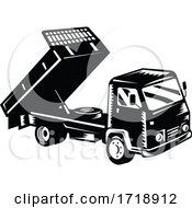 Poster, Art Print Of Dump Truck Dumper Truck Or Tipper Truck Retro Woodcut Black And White