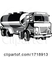 Tank Truck Fuel Truck Or Tanker Truck Retro Woodcut Black And White