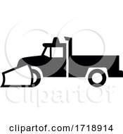 Snow Plow Pick Up Truck Icon Sign Black And White
