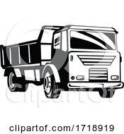 Poster, Art Print Of Dumper Truck Dump Truck Or Tipper Truck Retro Woodcut Black And White