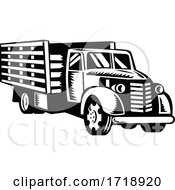 Classic American Pickup Truck With Wood Side Rails Front Retro Woodcut Black And White