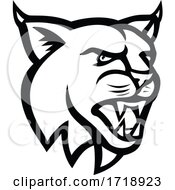 Poster, Art Print Of Bobcat Or Eurasian Lynx Cat Head Side View Mascot Black And White