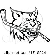 Bobcat Biting Ice Hockey Stick Head MASCOT BW CUT