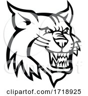 Poster, Art Print Of Angry Bobcat Or Canadian Lynx Head Mascot Black And White