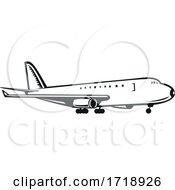 Commercial Jumbo Jet Plane Airliner Landing Side Retro Black And White