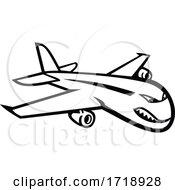 Angry Jumbo Jet Plane Flying Mascot Black And White
