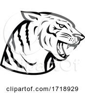 Head Of Bengal Tiger Growling Side Woodcut Retro Black And White