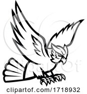 Great Horned Owl Swooping Right Mascot Black And White