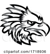 Head Of An American Harpy Eagle Side View Mascot Black And White