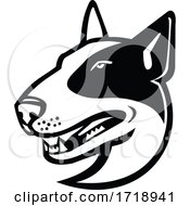 Head Of Bull Terrier Dog Side View Mascot Black And White