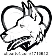 German Shepherd Dog Head Side View Inside Heart Black And White