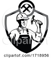 Poster, Art Print Of Builder Holding Hammer Front Retro Crest Bw Cut
