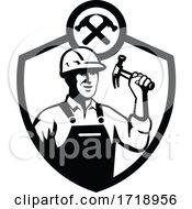 Builder Holding Hammer Front Retro CREST BW CUT