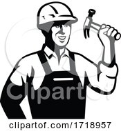 Poster, Art Print Of Builder Carpenter Handyman Holding Hammer Front Retro Black And White