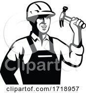 Builder Carpenter Handyman Holding Hammer Front Retro Black And White