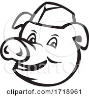Poster, Art Print Of Head Of Butcher Pig Wearing Hat Smiling Cartoon Black And White