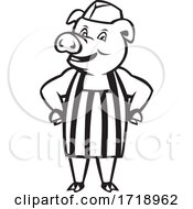 Butcher Pig Wearing Apron Hands On Hip Cartoon Black And White