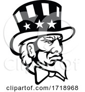 Head Of American Symbol Uncle Sam Mascot Black And White