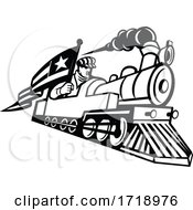 Poster, Art Print Of American Train Engineer Driving Steam Locomotive Mascot Black And White