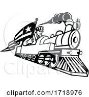 American Train Engineer Driving Steam Locomotive Mascot Black And White