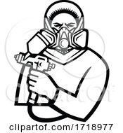 Poster, Art Print Of Industrial Spray Painter Holding Spray Paint Gun Mascot Black And White