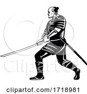 Samurai Warrior With Katana Sword In Fighting Stance Retro Black And White