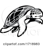 Kemps Ridley Sea Turtle Swimming To Right Mascot Black And White