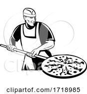 Pizza Pie Maker Holding A Pizza Peel Front Retro Black And White by patrimonio