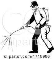Pest Control Exterminator Spraying Chemical Disinfectant Pesticide Retro Black And White