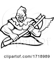 Hooded Medieval Executioner Carrying Axe Mascot Black And White by patrimonio