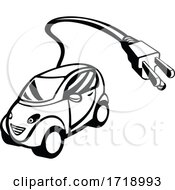 Electric Vehicle Or Green Car With Plug Coming Out Retro Black And White