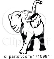 Poster, Art Print Of Elephant With Long Tusk Looking Up Mascot Retro Black And White