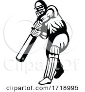 Cricket Batsman With Bat Batting Viewed From Front Retro Black And White