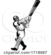 Cricket Batsman With Bat Batting Viewed From Side Retro Black And White